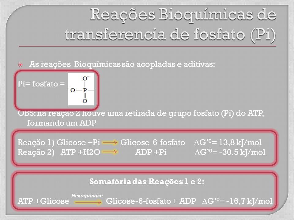 Reações Bioquímicas de transferencia de fosfato (Pi)