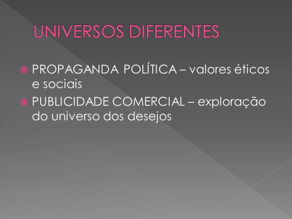 UNIVERSOS DIFERENTES PROPAGANDA POLÍTICA – valores éticos e sociais