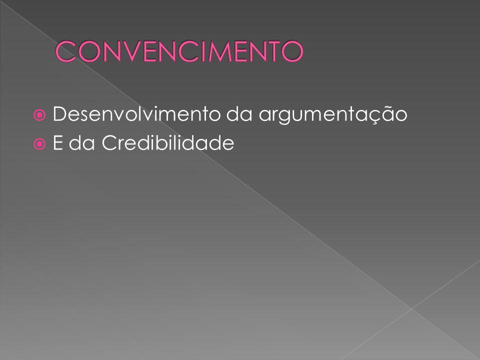 CONVENCIMENTO Desenvolvimento da argumentação E da Credibilidade