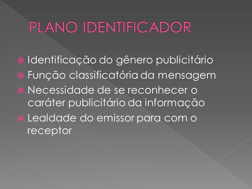 PLANO IDENTIFICADOR Identificação do gênero publicitário