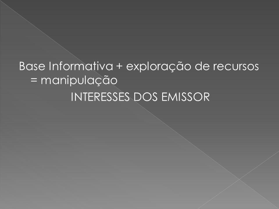 Base Informativa + exploração de recursos = manipulação INTERESSES DOS EMISSOR