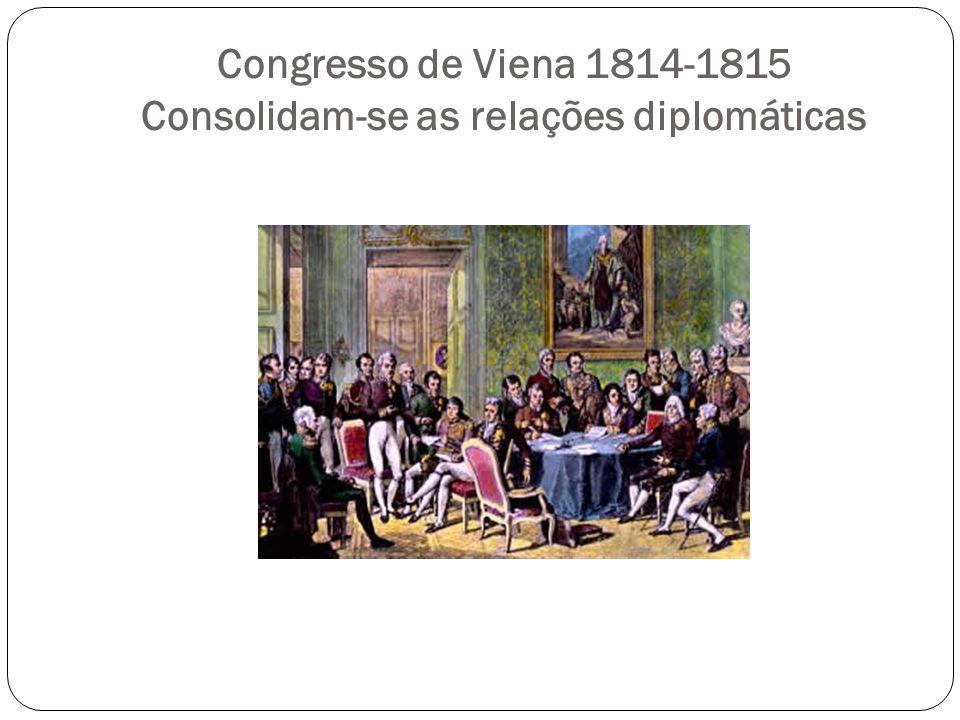 Congresso de Viena 1814-1815 Consolidam-se as relações diplomáticas