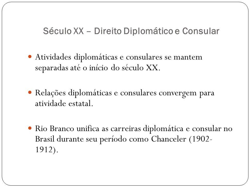 Século XX – Direito Diplomático e Consular