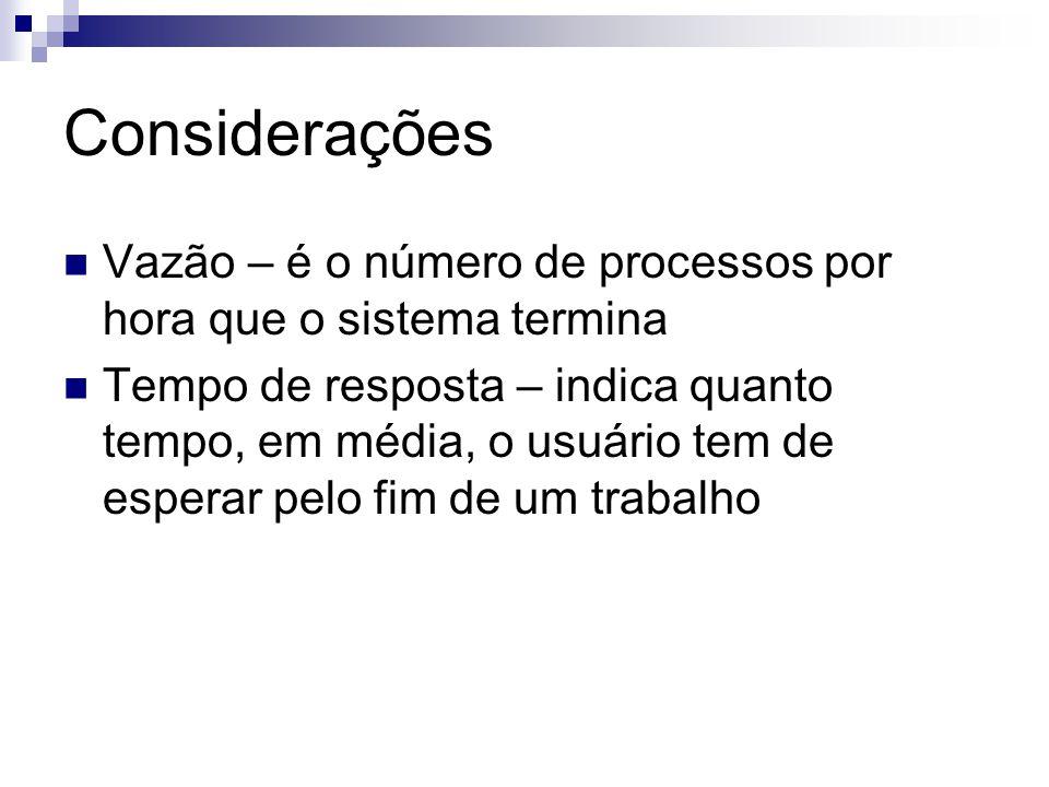 Considerações Vazão – é o número de processos por hora que o sistema termina.
