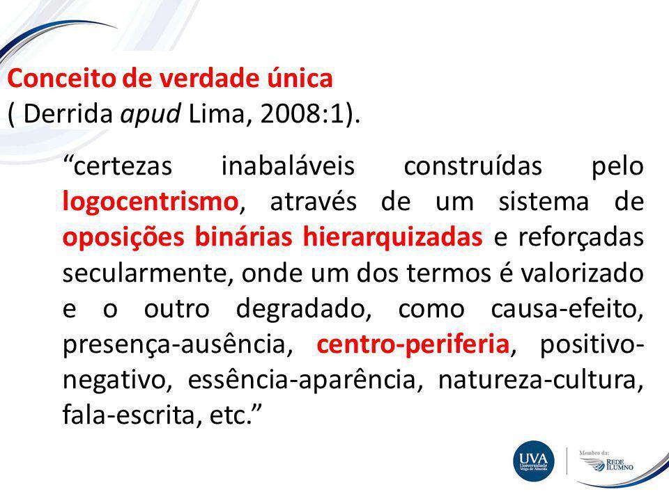Conceito de verdade única ( Derrida apud Lima, 2008:1).