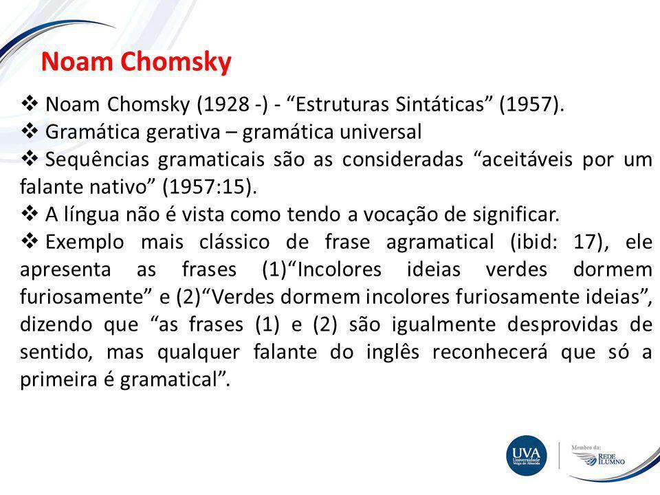 Noam Chomsky Noam Chomsky (1928 -) - Estruturas Sintáticas (1957).