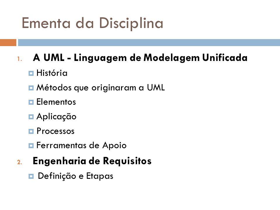 Ementa da Disciplina A UML - Linguagem de Modelagem Unificada