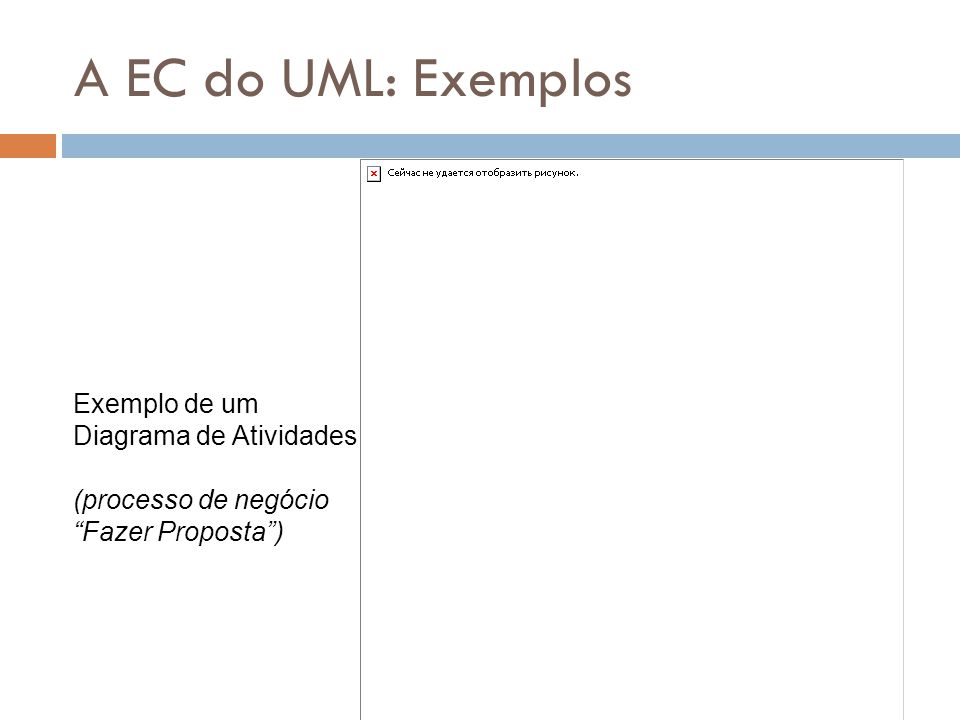 A EC do UML: Exemplos Exemplo de um Diagrama de Atividades