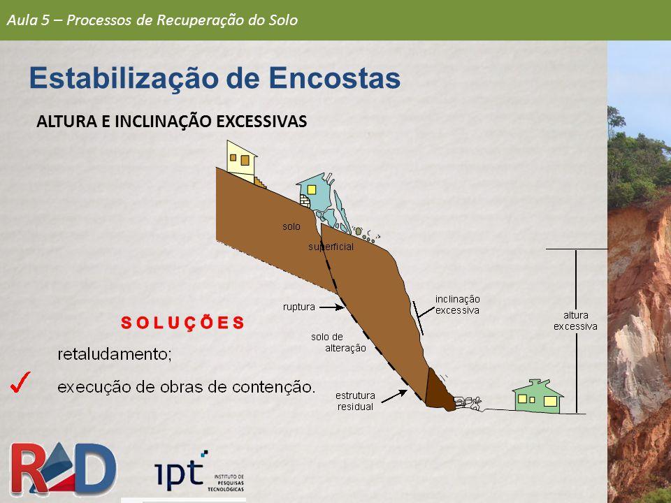 Estabilização de Encostas ALTURA E INCLINAÇÃO EXCESSIVAS