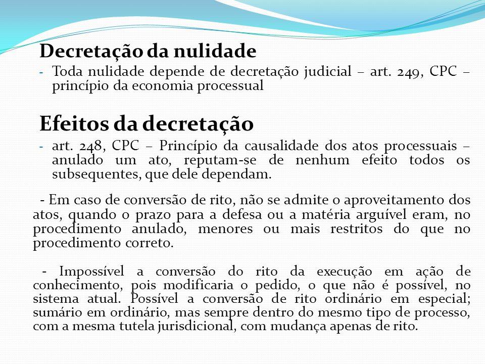 Efeitos da decretação Decretação da nulidade
