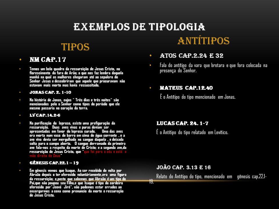 Exemplos de Tipologia Antítipos Tipos Nm cap.17 Atos cap.2.24 e 32