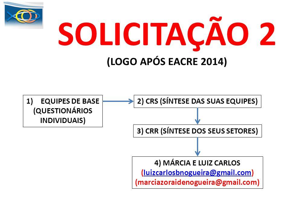 SOLICITAÇÃO 2 (LOGO APÓS EACRE 2014) EQUIPES DE BASE (QUESTIONÁRIOS