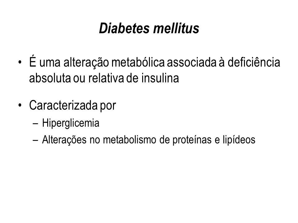 Diabetes mellitus É uma alteração metabólica associada à deficiência absoluta ou relativa de insulina.