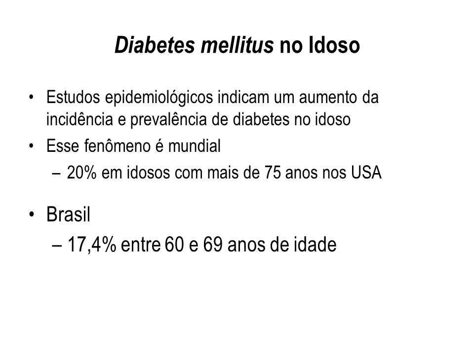 Diabetes mellitus no Idoso