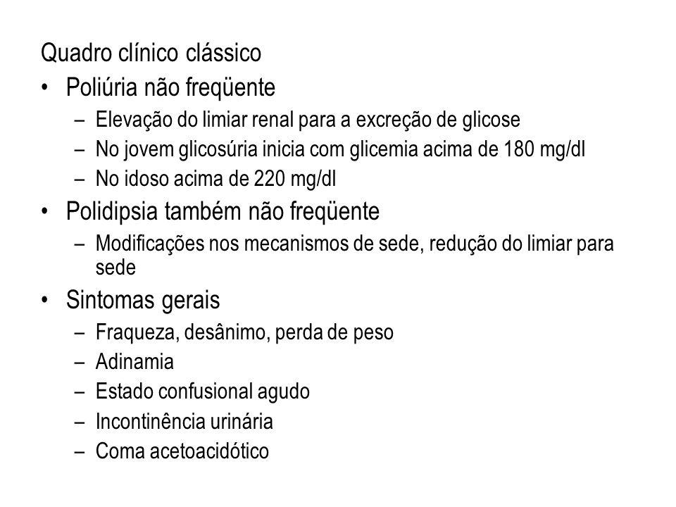 Quadro clínico clássico Poliúria não freqüente
