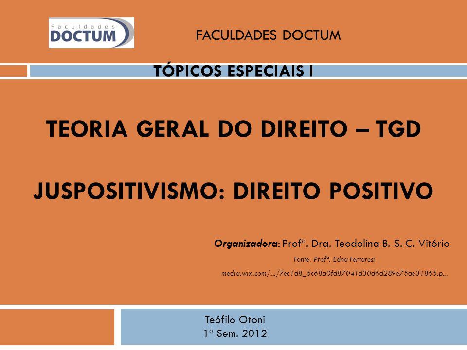 FACULDADES DOCTUM Tópicos Especiais I Teoria Geral do Direito – TGD JUSPOSITIVISMO: Direito Positivo.