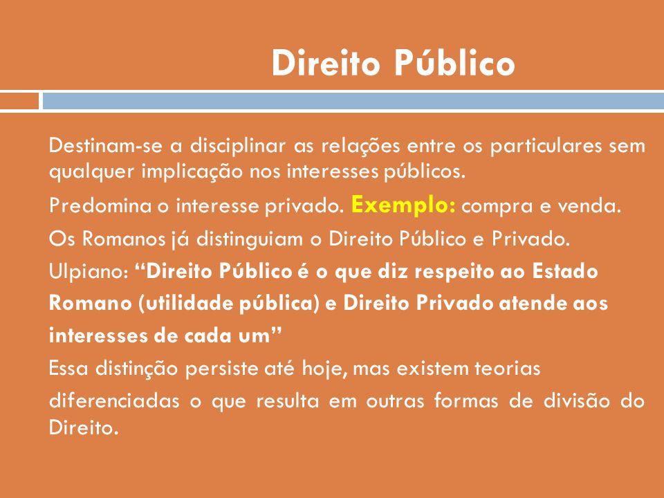 Direito Público Destinam-se a disciplinar as relações entre os particulares sem qualquer implicação nos interesses públicos.