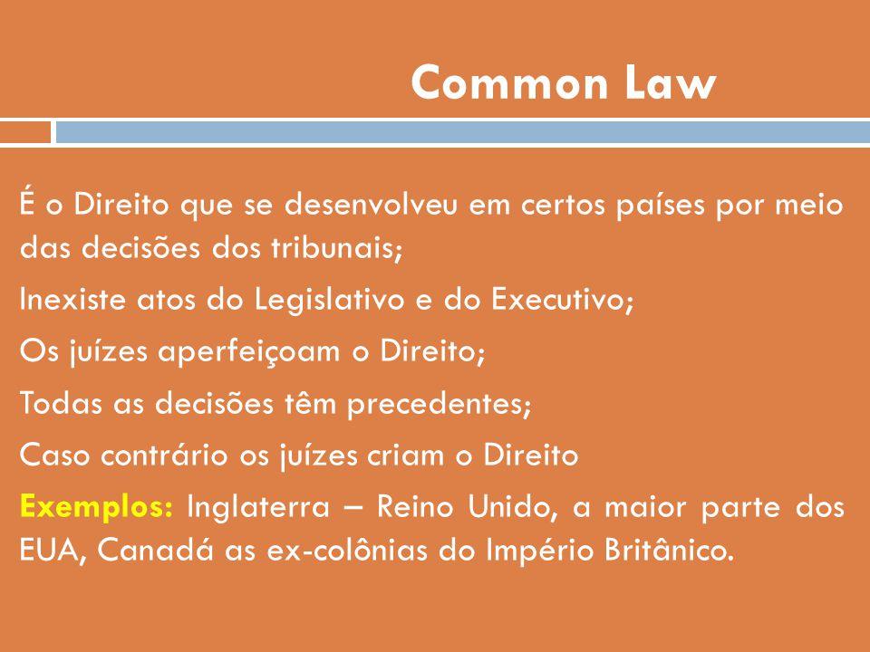 Common Law É o Direito que se desenvolveu em certos países por meio das decisões dos tribunais; Inexiste atos do Legislativo e do Executivo;