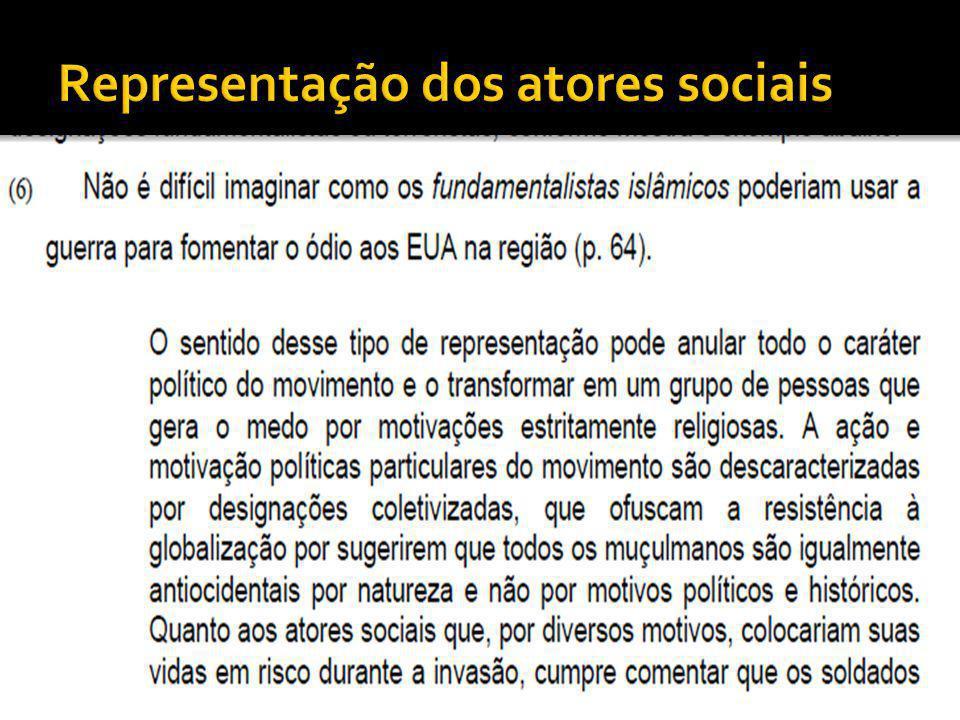 Representação dos atores sociais