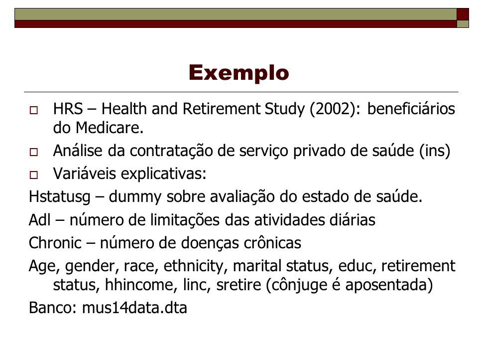 Exemplo HRS – Health and Retirement Study (2002): beneficiários do Medicare. Análise da contratação de serviço privado de saúde (ins)