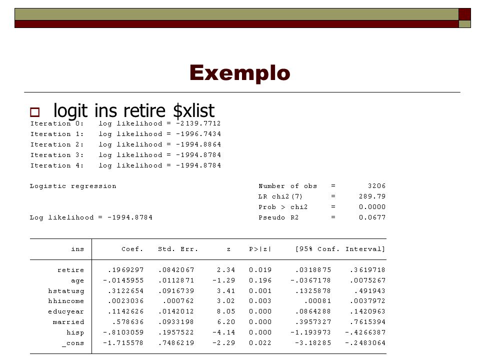 Exemplo logit ins retire $xlist