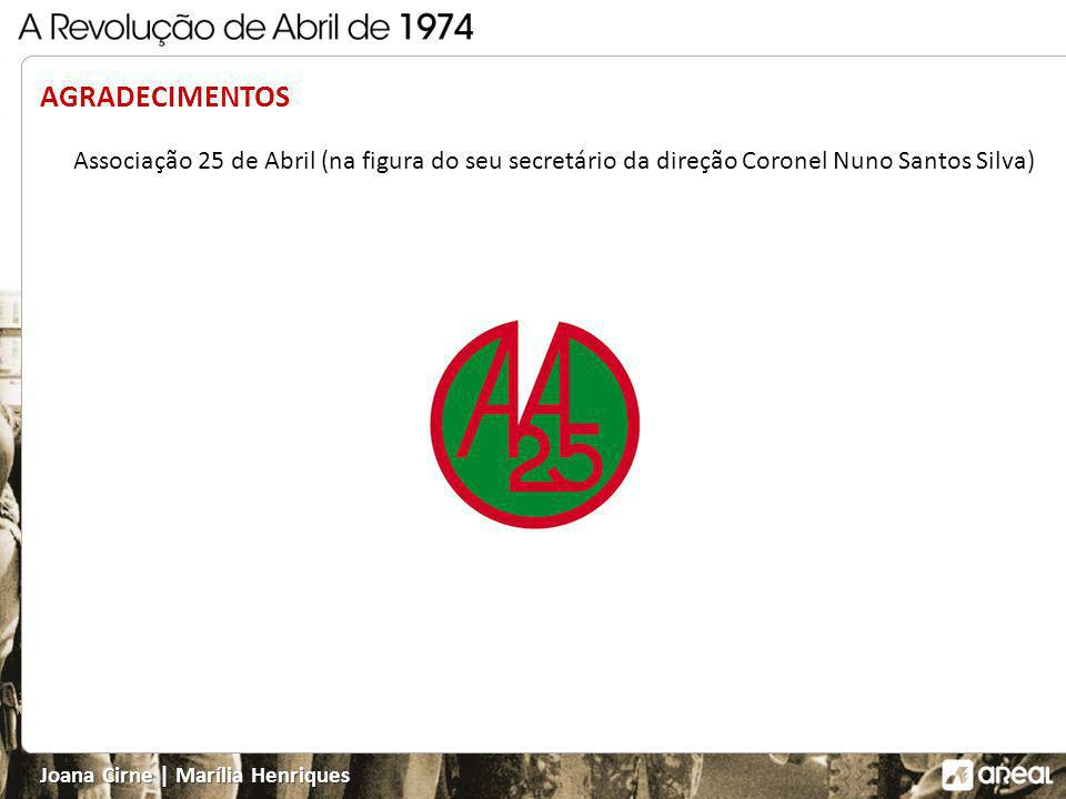 AGRADECIMENTOS Associação 25 de Abril (na figura do seu secretário da direção Coronel Nuno Santos Silva)