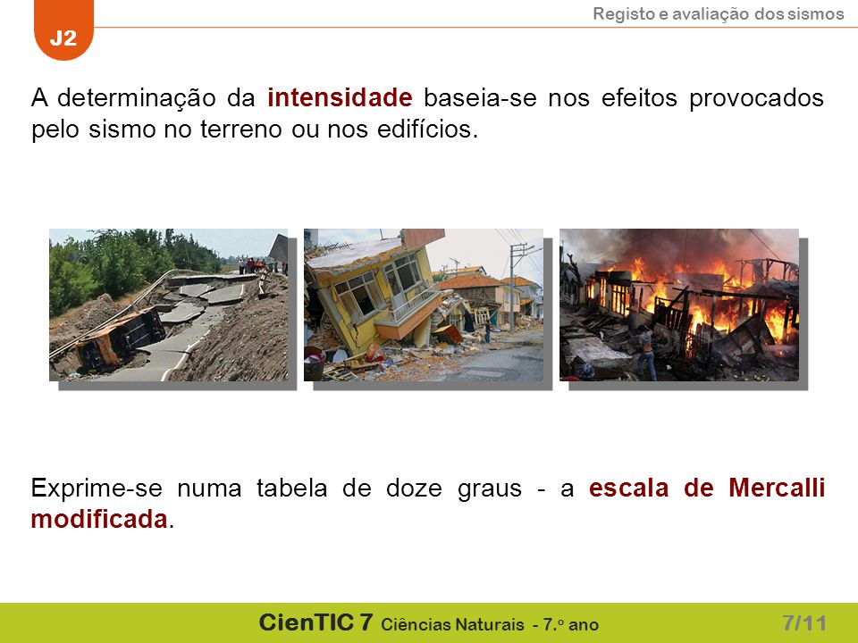 A determinação da intensidade baseia-se nos efeitos provocados pelo sismo no terreno ou nos edifícios.