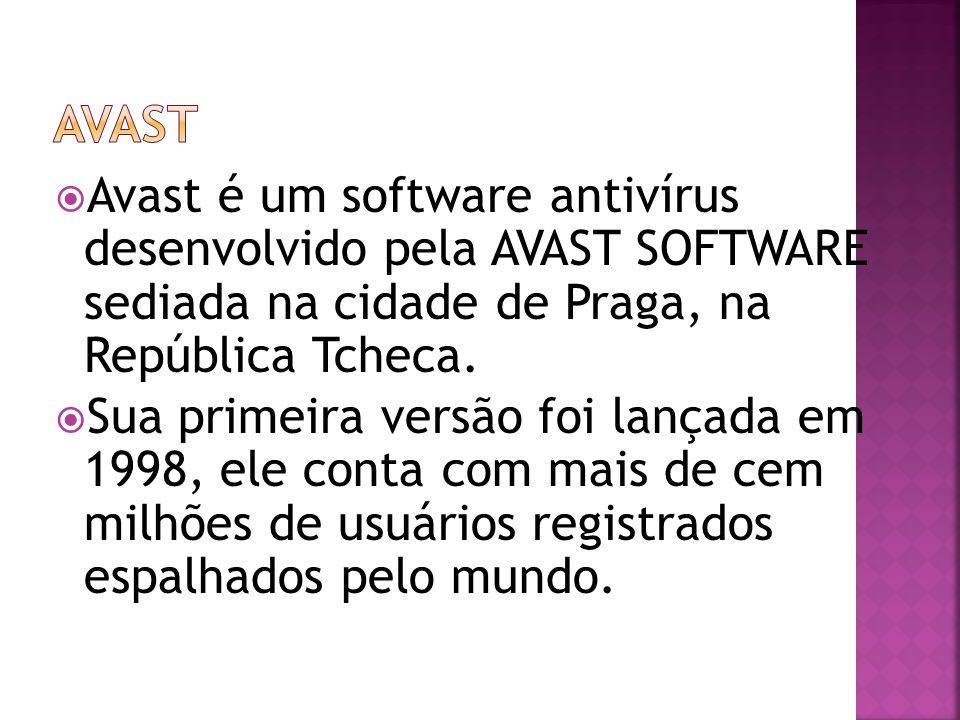 Avast Avast é um software antivírus desenvolvido pela AVAST SOFTWARE sediada na cidade de Praga, na República Tcheca.