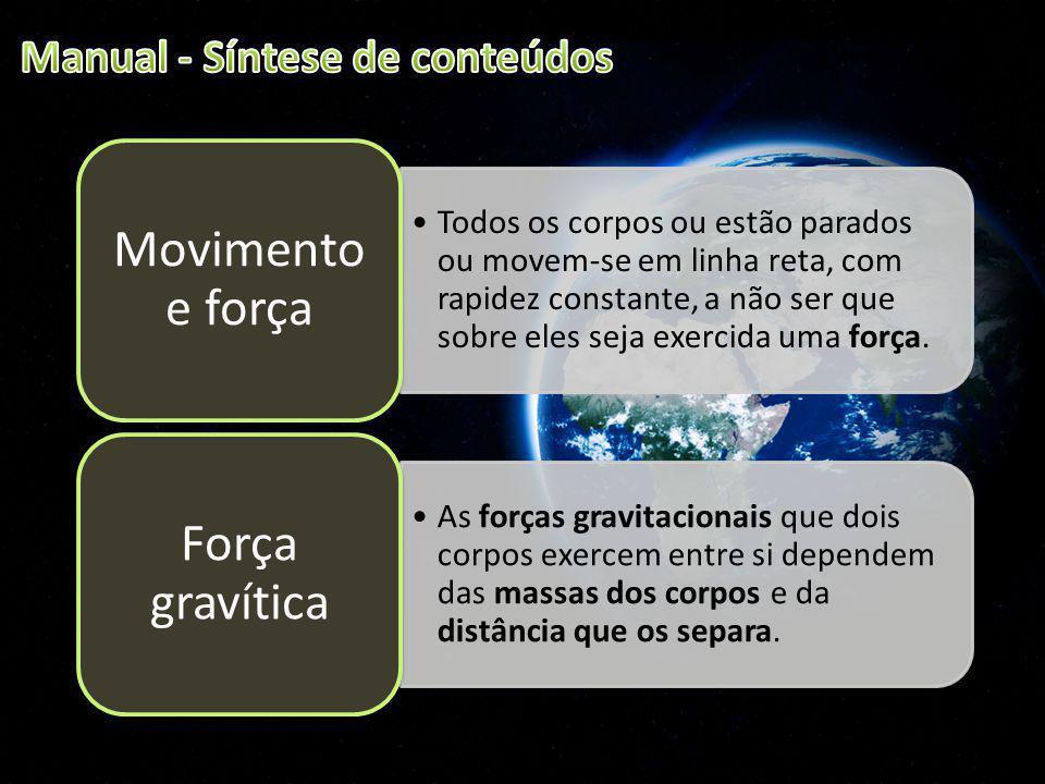 Movimento e força Força gravítica Manual - Síntese de conteúdos
