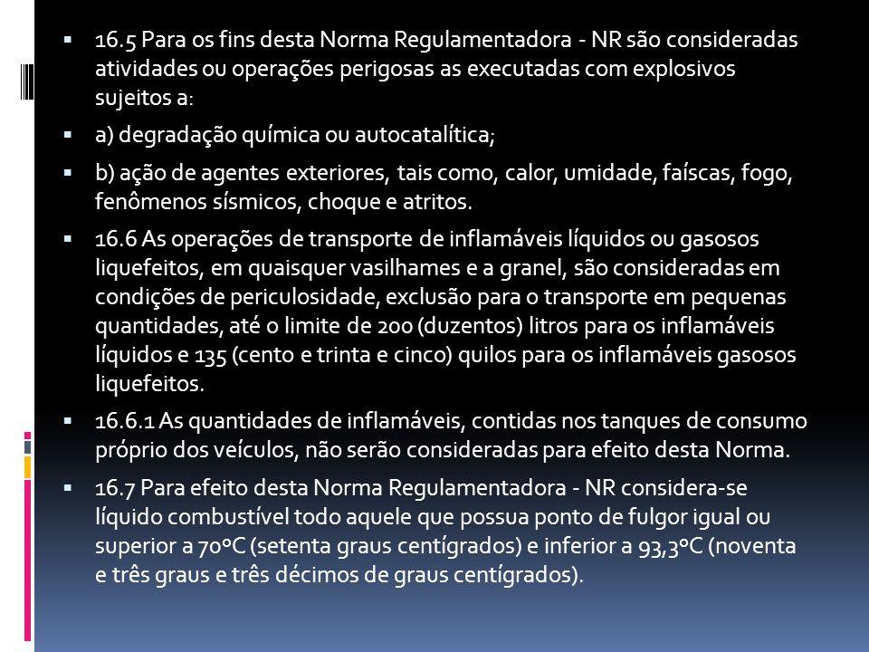 16.5 Para os fins desta Norma Regulamentadora - NR são consideradas atividades ou operações perigosas as executadas com explosivos sujeitos a: