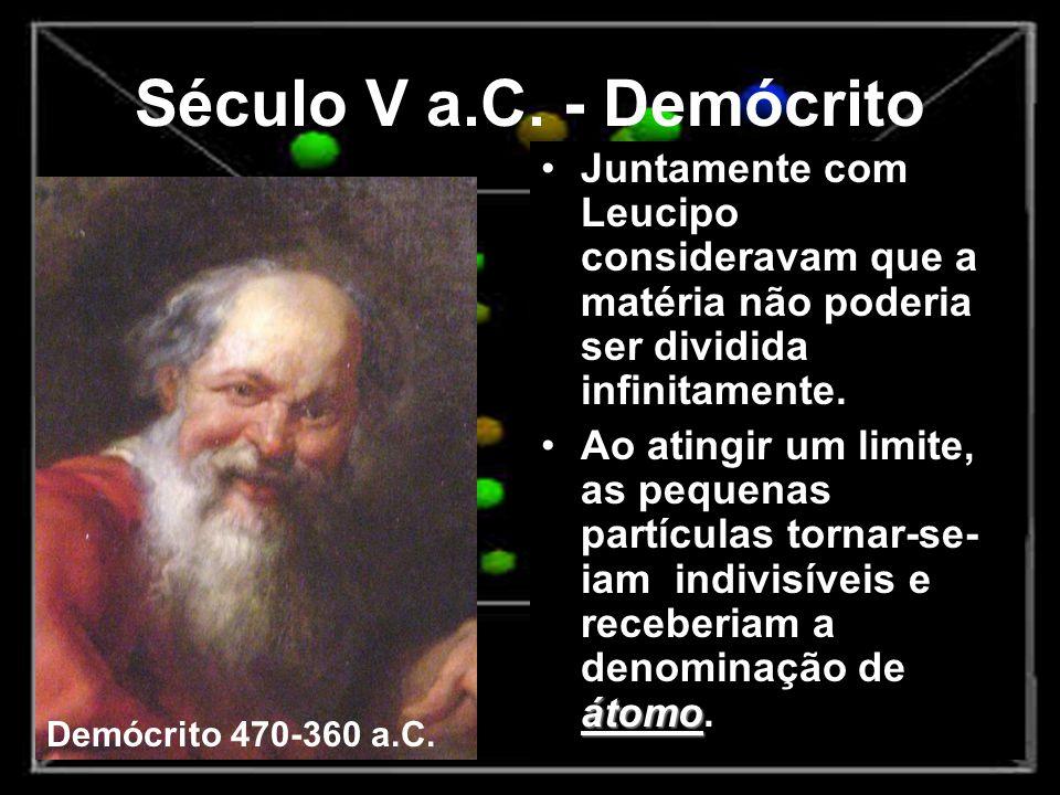 Século V a.C. - Demócrito Juntamente com Leucipo consideravam que a matéria não poderia ser dividida infinitamente.
