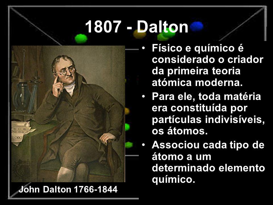 1807 - Dalton Físico e químico é considerado o criador da primeira teoria atómica moderna.