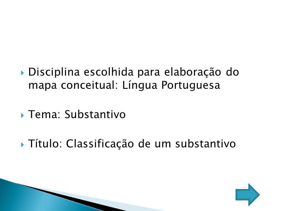 Disciplina escolhida para elaboração do mapa conceitual: Língua Portuguesa