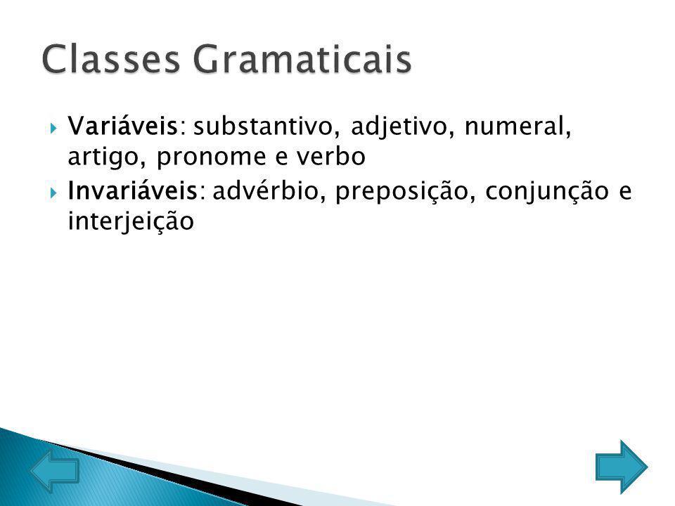 Classes Gramaticais Variáveis: substantivo, adjetivo, numeral, artigo, pronome e verbo.