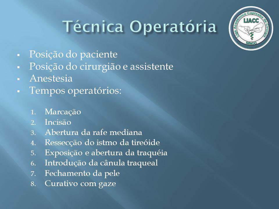 Técnica Operatória Posição do paciente