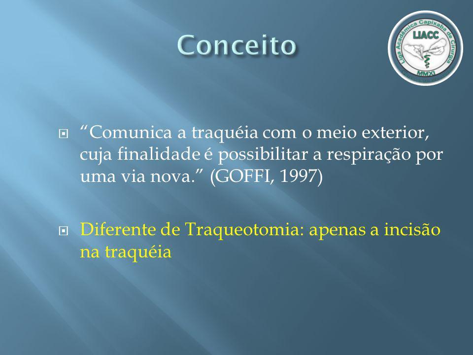 Conceito Comunica a traquéia com o meio exterior, cuja finalidade é possibilitar a respiração por uma via nova. (GOFFI, 1997)