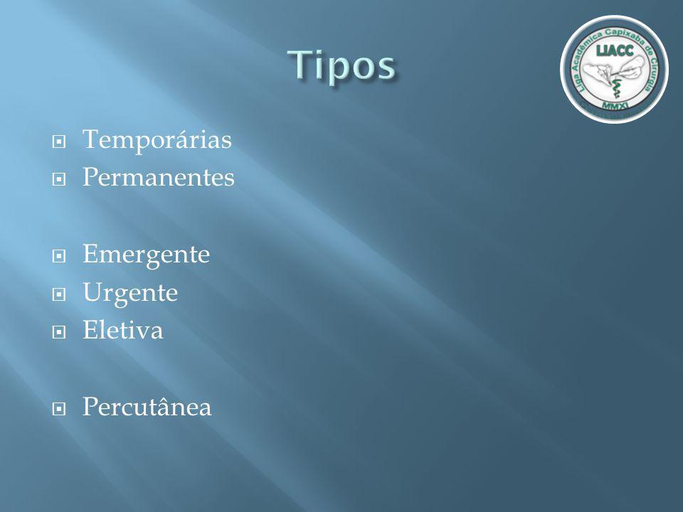 Tipos Temporárias Permanentes Emergente Urgente Eletiva Percutânea