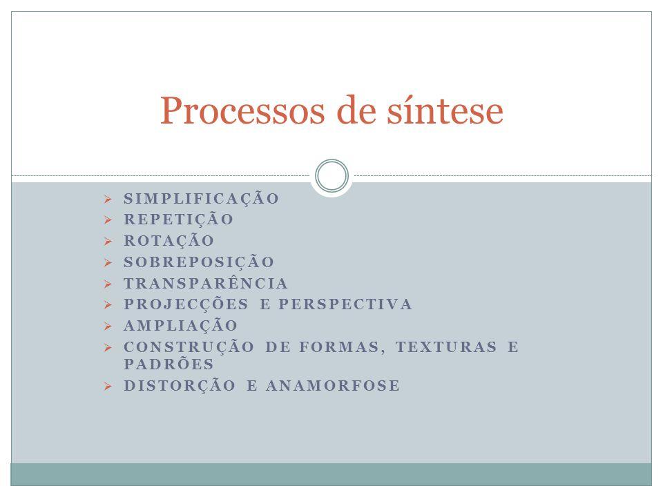 Processos de síntese Simplificação Repetição Rotação Sobreposição