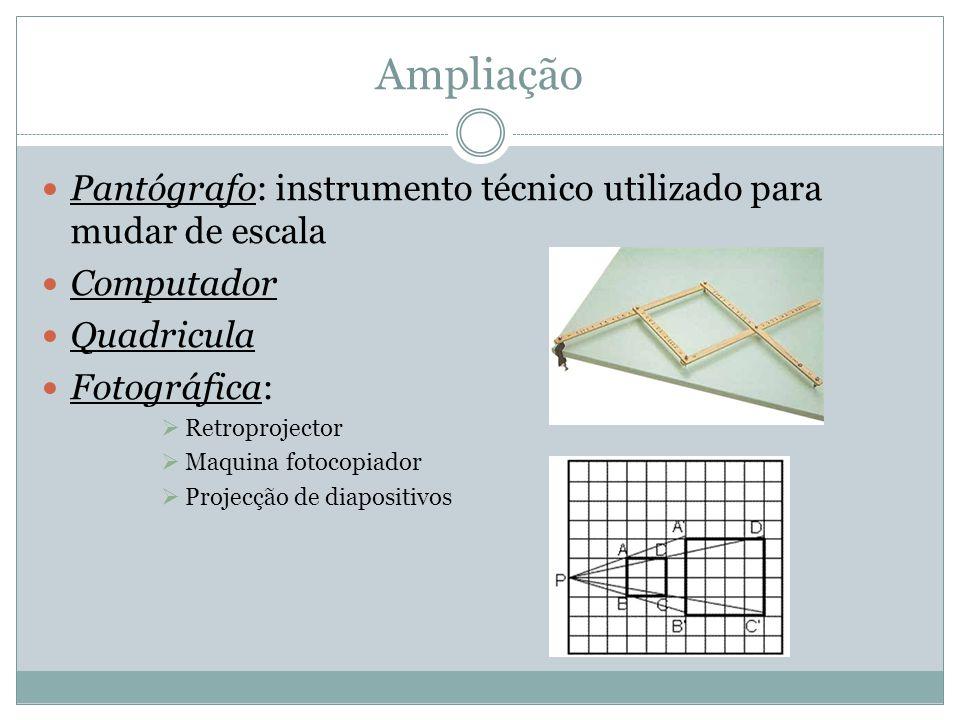 Ampliação Pantógrafo: instrumento técnico utilizado para mudar de escala. Computador. Quadricula.