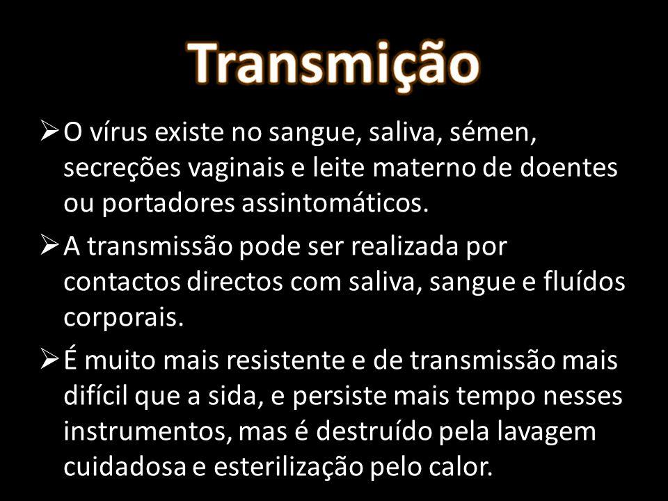 Transmição O vírus existe no sangue, saliva, sémen, secreções vaginais e leite materno de doentes ou portadores assintomáticos.