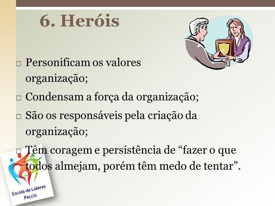 6. Heróis Personificam os valores da organização;