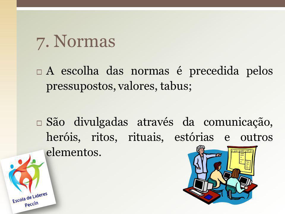 7. Normas A escolha das normas é precedida pelos pressupostos, valores, tabus;