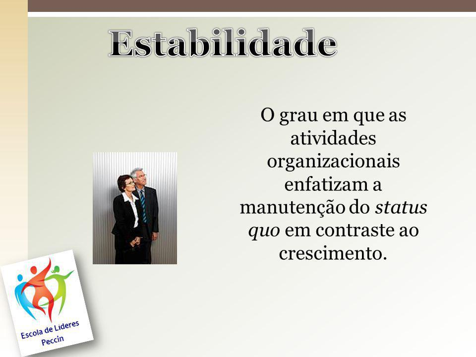 Estabilidade O grau em que as atividades organizacionais enfatizam a manutenção do status quo em contraste ao crescimento.