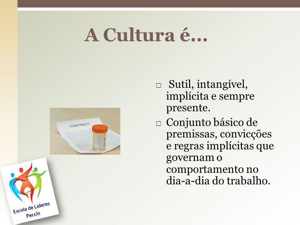 A Cultura é... Sutil, intangível, implícita e sempre presente.