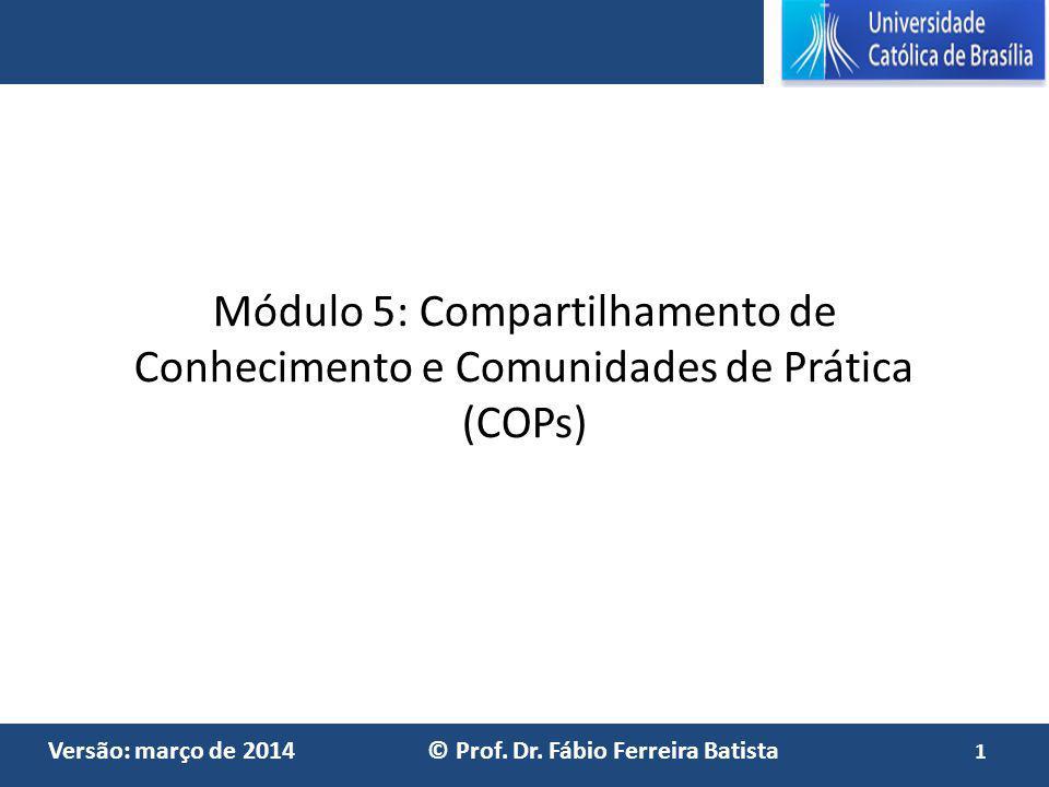 Módulo 5: Compartilhamento de Conhecimento e Comunidades de Prática (COPs)