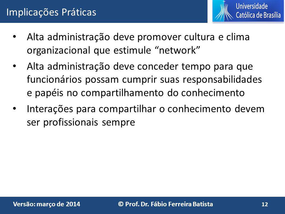 Implicações Práticas Alta administração deve promover cultura e clima organizacional que estimule network