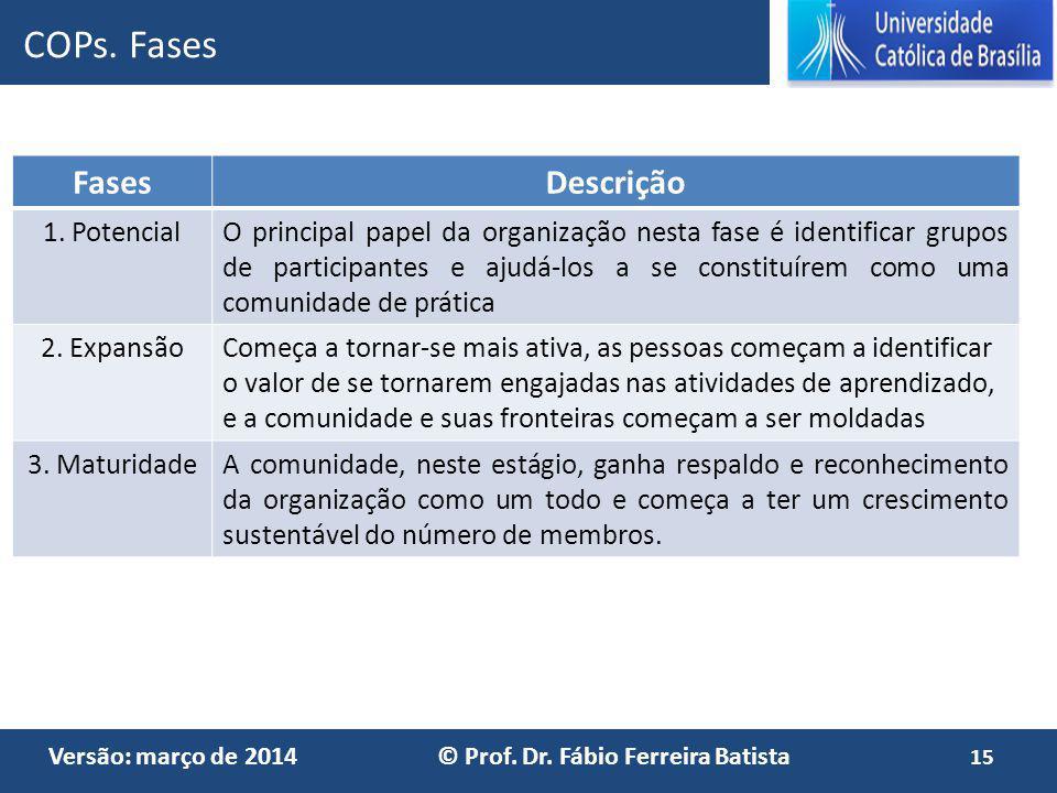 COPs. Fases Fases Descrição 1. Potencial