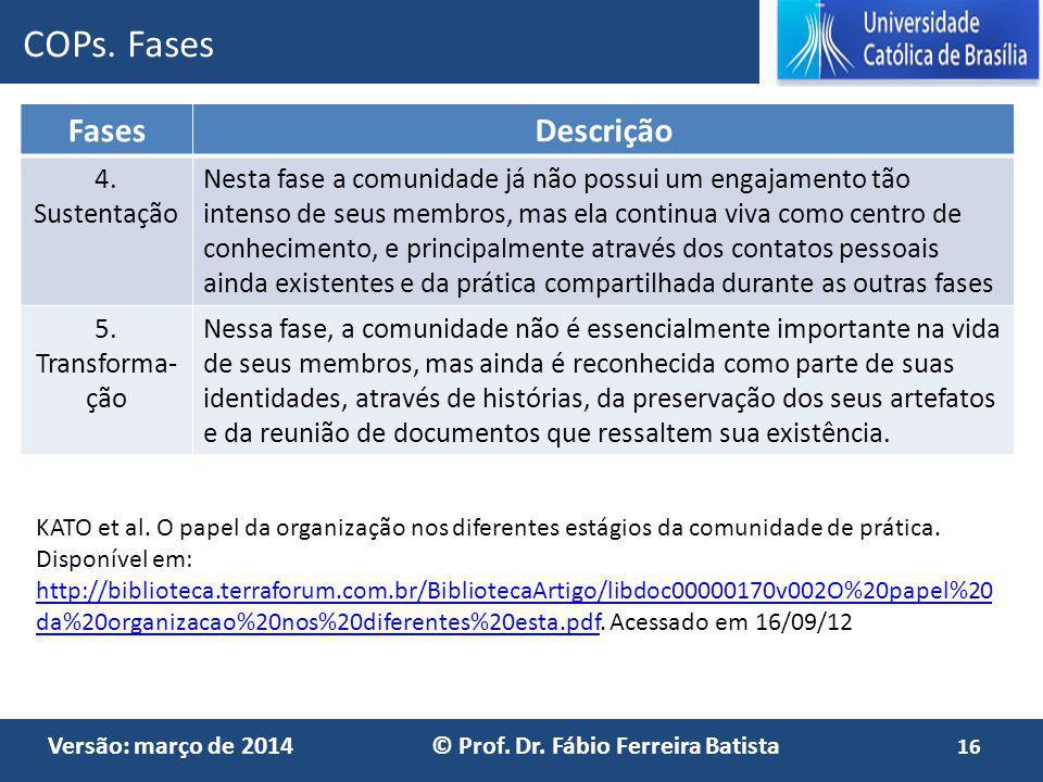 COPs. Fases Fases Descrição 4. Sustentação