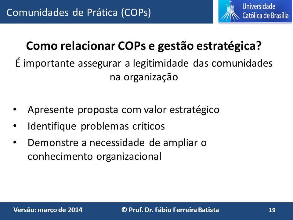 Como relacionar COPs e gestão estratégica