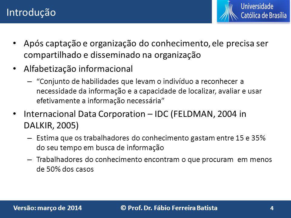 Introdução Após captação e organização do conhecimento, ele precisa ser compartilhado e disseminado na organização.